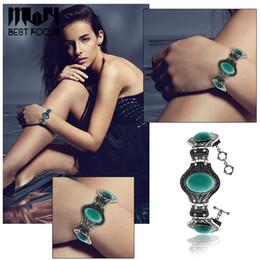 $enCountryForm.capitalKeyWord Australia - Traditional Turquoise Charm Bracelets Sliver Plated Bracelet Natural Stone Bracelets Bangle For Women Pulseras Wedding Bracelets 12pcs lot