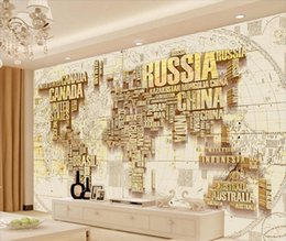 world map murals Australia - 3D Custom Gold World Map Wallpaper Murals for TV Background Three-dimensional Black Letter Large Photo Mural Map of the world