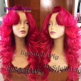 $enCountryForm.capitalKeyWord NZ - Long Fashion Layered Cut Natural Glueless Heat Resistant Hair Wig Polished Solid Rose Red Body Wave Curl Synthetic Lace Front Wigs For Women