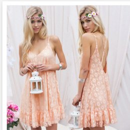 Bohemian Clothing Patterns Canada - 2016 New Pattern Sexy Reveal Back Lace Camisole Women Beach Dress Fashions Cheap Work Casual Denim Bodycon Clothing Ladies Dresses