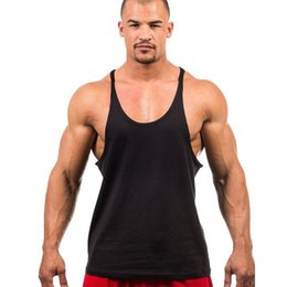 Barato E Coleiras De Volta-Atacado- Homens Algodão Stringer Bodybuilding Equipment Fitness Tank Top camisa Solid Singlet Y Back Clothes Vest