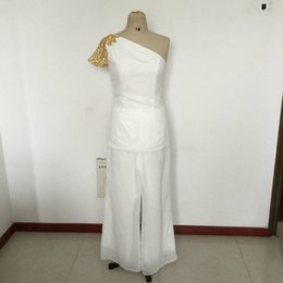 Barato Costume Costume Imagens-2016 Ivory Real Image Mothers Suit Mãe dos vestidos de noiva Duas partes Beads Sequins One Shoulder Ladies Party Prom Dresses Custom Made