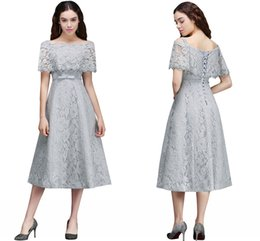 Robe De Longueur De Thé En Lacet Pas Cher-Pretty Silver Full Lace Junior Robes de demoiselle d'honneur Tea-Length A Line Robes de mariée formelle de mariage Lace-Up Back Cheap CPS676