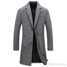 Barato 4xl Peacoat Men-Outono Inverno New Fashion Brand Men's Clothes Trend Jacket Wool Coat Men Slim Fit Peacoat Wool Blends Winter Long Men Coat 5XL YH-079