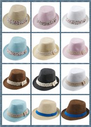 Baby Boys Straw Hats Canada - 8%off Kids Straw Fedora Hat Baby Summer Straw lace Broken beautiful side Hat Boys Girls Jazz cap Straw Fedoras Baby Strawhat Mix order 10pcs
