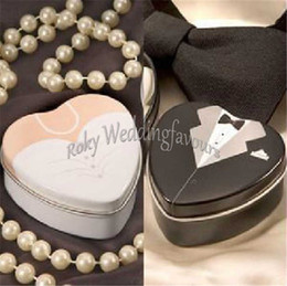 $enCountryForm.capitalKeyWord Canada - Dress and Tuexdo Favor Tin Boxes Heart Shape Metal Boxes Wedding Favors Supplies Engagement Party Table Setting Supplie