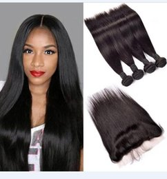 High Quality Sheds NZ - 8A High Quality Malaysian Straight Hair with 13*4 Lace Frontal closure No Shedding Free Tangle Full Thick Free Shipping Fee Hair Extenstion