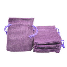 Burlap Fabric Wholesale NZ - 7x9cm Faux Jute Drawstring Jewelry Bags Candy Beads Small Pouches Burlap Blank Linen Fabric Gift packaging bags Hessian bag for sale Purple