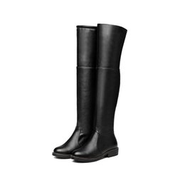 $enCountryForm.capitalKeyWord Canada - Fashion Women Shoes Synthetic Leather Block Heel Zip Round Toe Knee High Boots B603 US Size 4 -10.5 Black