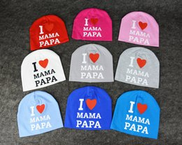 fallen hats Australia - New 0-3 old kids hat I love PAPA MAMA children caps fashion lovely colored Spring Fall Baby knitted hats comfortable warm caps
