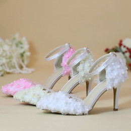 beautiful wedding dance shoes Australia - Beautiful Lace Flower Bridal Dress Shoes Wedding Party Pumps Pointed Toe Satin Dancing Shoes Buckle Strap White Pink Champagne