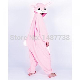 Chambre À Coucher Hiver Pas Cher-Accessoires Cosplay Costumes Nouvel Hiver Adulte Cartoon Animal Lapin Rose Onesie Unisexe Onesie Pyjamas Cosplay Costumes Dors bien Vêtements de nuit