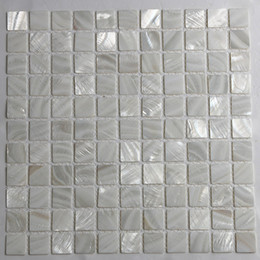 Water Tablets UK - [FREE SHIPPING] White color mother of pearl shell mosaic , 25x25mm for floor wall used, fresh water shell tile ( MS064)