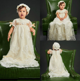 Barato Vestido, Forro, Champanhe-Cute First Communion Dresses Champagne Jewel Neck Lace Applique Manga Curta Uma Linha Custom Made Baby Makeful Pageant Vestidos