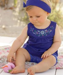 $enCountryForm.capitalKeyWord Canada - 2016 Baby girl summer 3pcs set embroidery Infant girl blue vest + shorts + headband 3pcs outsuit exquisite flower cloth size choose free