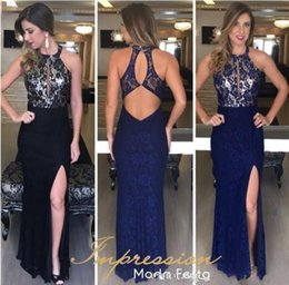 Special occaSion dreSSeS full length online shopping - Navy Blue Full Lace Keyhole Back Prom Dresses Sexy Jewel Neck Front Split Sheath Evening Special Occasion Gowns Cocktail Party Gowns