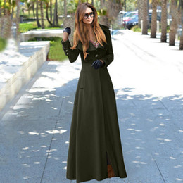 Womenu0027s Fashion Lapel Neck Long Sleeve Single Button Floor Length Long  Trench Coat