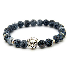 stone chains 2019 - New Design 1PCS 8mm Weathering Agate Stone Beads Gold Silver Plated Lion Owl Helmet Best Gift Bracelets cheap stone chai
