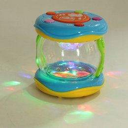 Baby Rattles Australia - Mini Magic LED Music Hand Drum Children Infant Early Developmental Toys Funny Gift Learning Developmental Baby Rattles Q0207