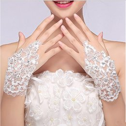 $enCountryForm.capitalKeyWord Australia - Wholesale- Lace White Fingerless Short Paragraph Rhinestone Diamond Gloves