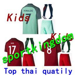 e65d47b97d6 Portugal Soccer jersey kid kits +sock 2016 2017 RONALDO QUARESMA PEPE  GUERREIRO 16-17 TOP Thai quality Portugal chlid football jerseys kit cheap  16 top ...
