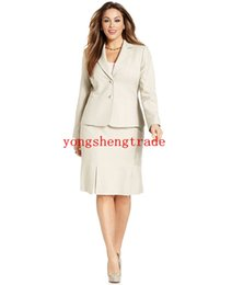 $enCountryForm.capitalKeyWord Canada - Custom Made Woman Suit Begie Women Suit Plus Size Two-Button Blazer & Plus Size Pleated-Hem Pencil Skirt Notch collar HS7952