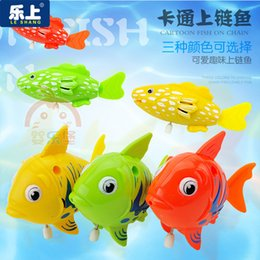 Black Swimming Toys Canada - Small children toy fish fish swim swim a chain of baby bath toy fish wholesale toys for children