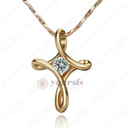 $enCountryForm.capitalKeyWord Australia - Yoursfs New Fashion Design Twisted Style Cross Regal Pendant Necklace 18 k Rose-Gold Plated Gold Engagement Necklace For Women Vogue Jewelry