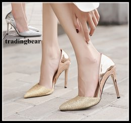 Chaussures De Bal En Or Haut Talon Pas Cher-Sexy High Heels Prom Wedding Shoes Femmes 2018 Glitter Silver Gold Pointed Toe D'orsay Chaussures taille 35 à 40