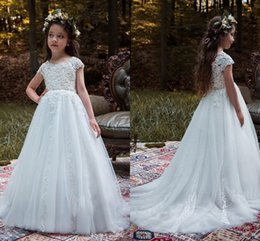 d40217504 2017 Pure White Princess Flower Girls Dresses For Weddings Jewel Neck Lace  Appliques Beads Cap Sleeves Birthday Children Girl Pageant Gowns