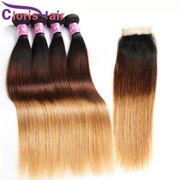 Discount ombre closure 1b 27 - Silk Straight Brazilian Virgin Ombre Weave 4 Bundles With Closure Three Tone 1B 4 27 Blonde Human Hair Extensions And La