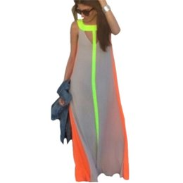 Vestidos Multicolores Pas Cher-New Summer Boho Sexy Women O Neck manches Gradient Multicolor Robe longue Maxi Beach Party Dress Vestidos Robe Plus Size S-XL DK0525BK
