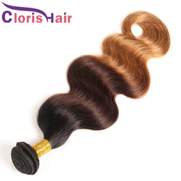 Discount tangle free hair extensions - Tangle Free Blonde Ombre Weave Human Hair Body Wave Malaysian Virgin Hair Bundles 3 Tone Brown Blonde Wavy Hair Extensio