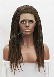 kanekalon lace wigs Canada - #1b 27 Black Blond Mix Synthetic Braiding Hair Wig Full Kanekalon Braided Lace Front wigs For Black Women, Braid Wig for Africa American