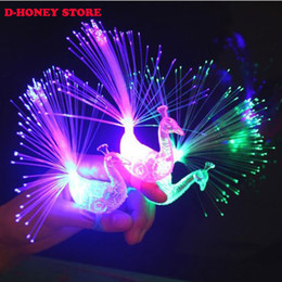 2017 Hot selling Luminous light Colofrul Peacock Finger Light LED lamp toy kids novelty toys wholesale free shipping