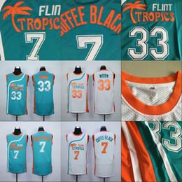4ea4a97080b4 Mens 7 COFFEE BLACK 33 JACKIE MOON Flint Tropics Semi Pro Movie Jersey 100%  Stitched Basketball Jerseys White Green High Quality