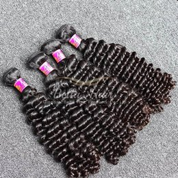 Discount human hair weave brands - Brand Original Hair! 2pcs Lot 7A 10~24inch Deep Wave Hair Weaves Unprocessed Peruvian Human Hair Extensions Free Shippin