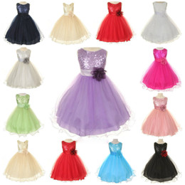 Barato Vestido De Casamento Marfim Tanque-Flower Girl Dresses Gold Sequin Flower Sash Ivory Tank Top Tutu Flower Girl Vestidos com vestido de bola Little Kid Wedding Baby Pagea