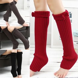 Chaussettes Sexy En Laine Pas Cher-2017 Fashion sexy Corée Leggings Bow Tie Sock Kneepad Femmes Ladies 'Warm Wool Knit Crochet Cuffs Winter Leg Warmer Boot Socks freeShipping