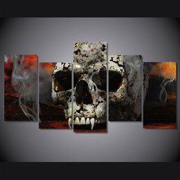 Art Canvas Prints Australia - 5 Pcs Set Framed Printed Skull art Painting on canvas room decoration print poster picture canvas Free shipping NY-5883