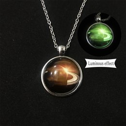 Glow dark glass pendants online shopping glow dark glass pendants 2017 hot sale planetary necklace glow in the dark time gem convex round glass pendant luminous green fluorescent jewelry aloadofball Gallery