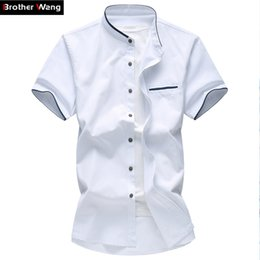 Mens Oxford Shirts Yellow Canada - Wholesale- Mens Shirt Summer Big Size Oxford Textile Business Casual Short-sleeved Shirt male 5XL 6XL 7XL Solid Color Fashion Brand Shirt