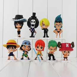 wholesaler chopper toys UK - One Piece Luffy Nami Robin Chopper Brook 9Styles set PVC Action figure Colletable Model toy Child's Birthday Gift Free shipping