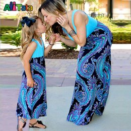 Mom Baby Matching Clothing Canada - Wholesale-Mother daughter dresses Patchwork Family matching outfits Nmd Baby girl clothes Vintage Family look mama mom mum and me Fashion