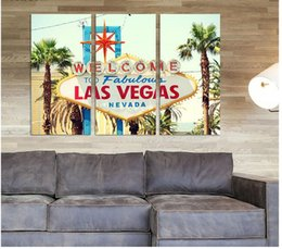 $enCountryForm.capitalKeyWord NZ - Modern Fashion 3 pcs living room Decoration letter Las Vegas tree Canvas printed Painting wall art pictures home decor unframed