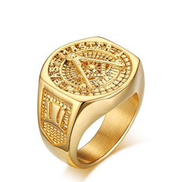 Chinese  2016 New Fashion 18K GP Yellow Gold Titanium Steel Men's Ring. Size:9-12.Free shipping.Provide tracking number manufacturers