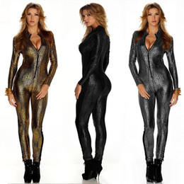 Barato Club Bodysuits Para Mulheres-Outfit Faux Leather Snake Print Bodysuits Sexy Night Club Rompers Mulher Jumpsuits Full Sleeve Full Length Playsuits