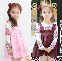 Barato Bebê, Menina, Vestidos, Flor, Impresso-Girls Flower Lace Dresses Kids Girls Princesa Suspender Dress Baby Girls Printed Hallow Out Dress 2017 Baby Clothing