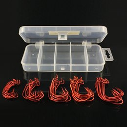 $enCountryForm.capitalKeyWord Australia - 50pcs   1Box Fishhooks Black Red Nickel Crank Hook Fishing Hook Set Storage Box High Carbon Steel Barbed Hooks 5 Sizes