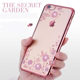 Wholesale Luxury soft rose gold phone case for iPhone S plus Splus Crystal Rhinestone transparent Diamond Shining Electroplating capa
